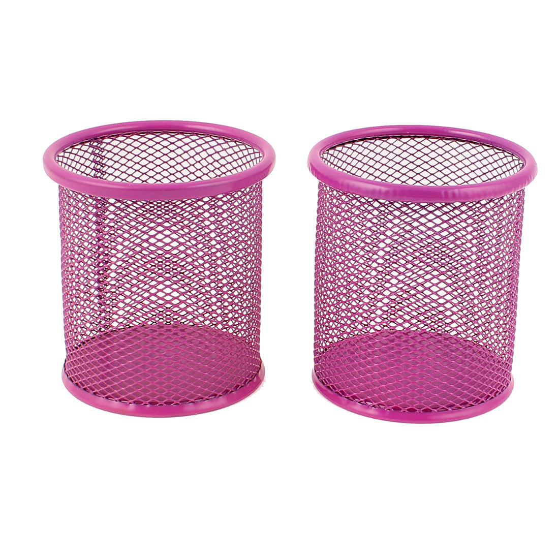 Metallic Mesh Cylinder Shaped Stationery Pen Holder Box Container Fuchsia 2Pcs