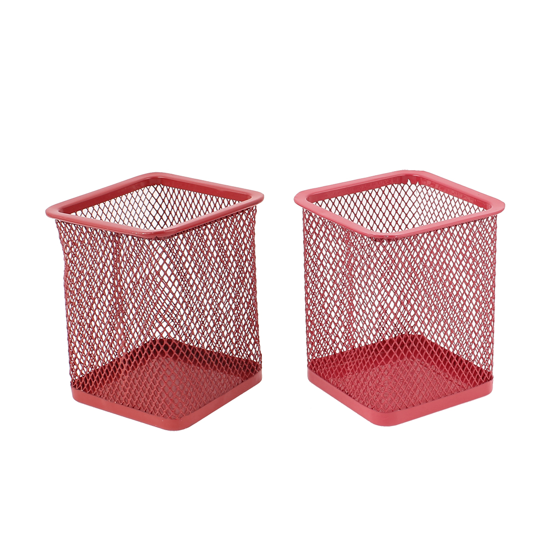Metallic Mesh Office Desk Stationery Pen Holder Box Container Red 2Pcs