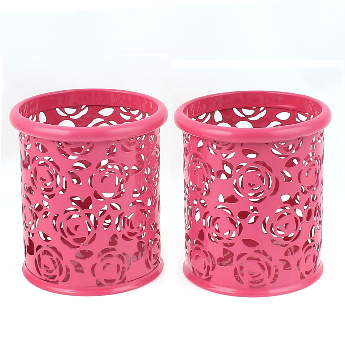 Metallic Cylinder Shaped Stationery Pen Holder Box Container Pink 2Pcs