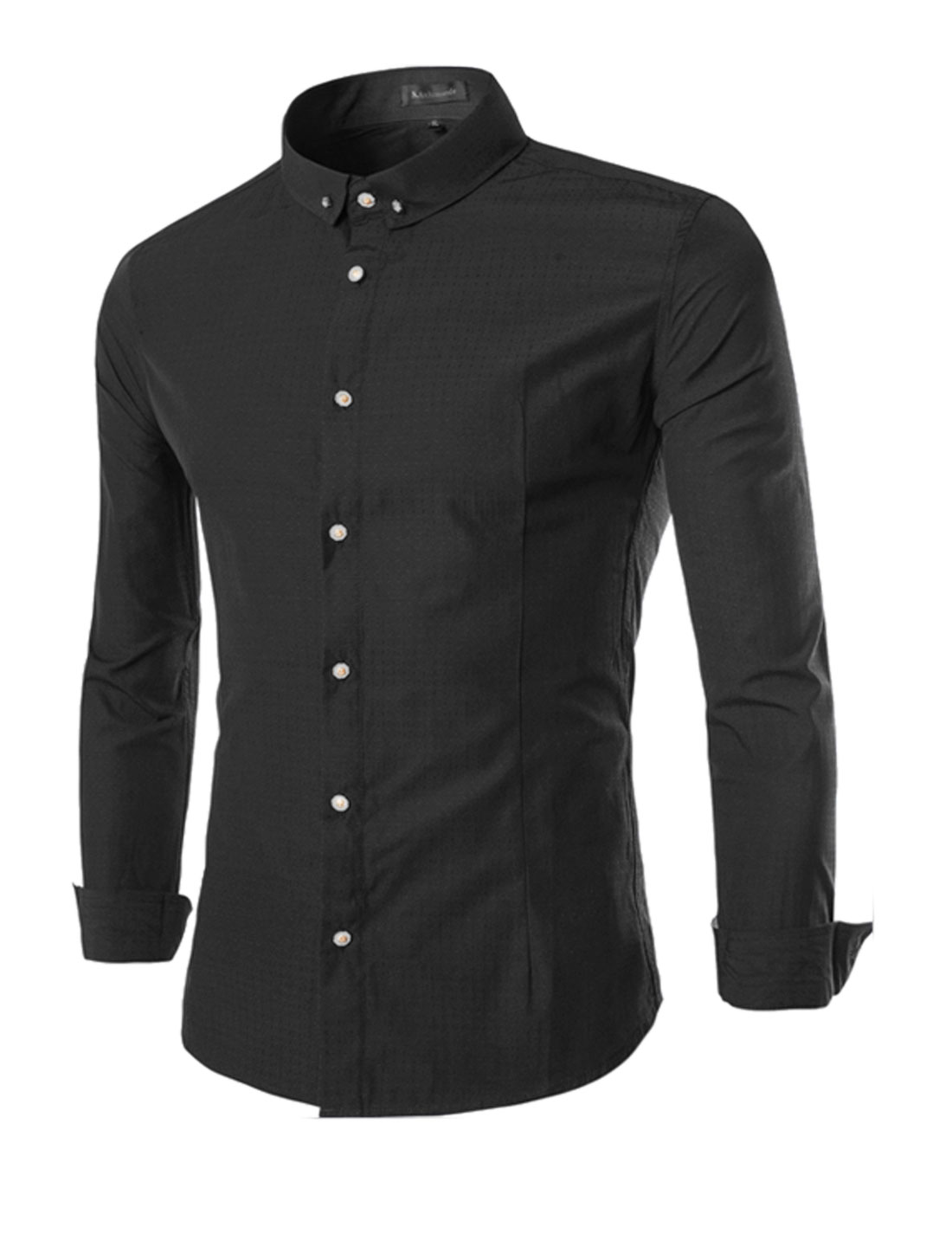 Men Button Down Stitching Long Sleeves Slim Cut Casual Shirt Black S