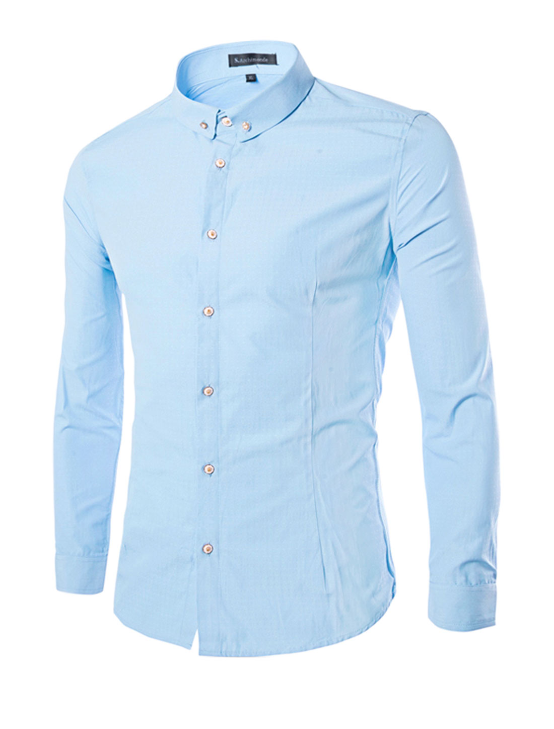 Men Long Sleeves Single Breasted Slim Fit Leisure Stitching Shirt Blue S