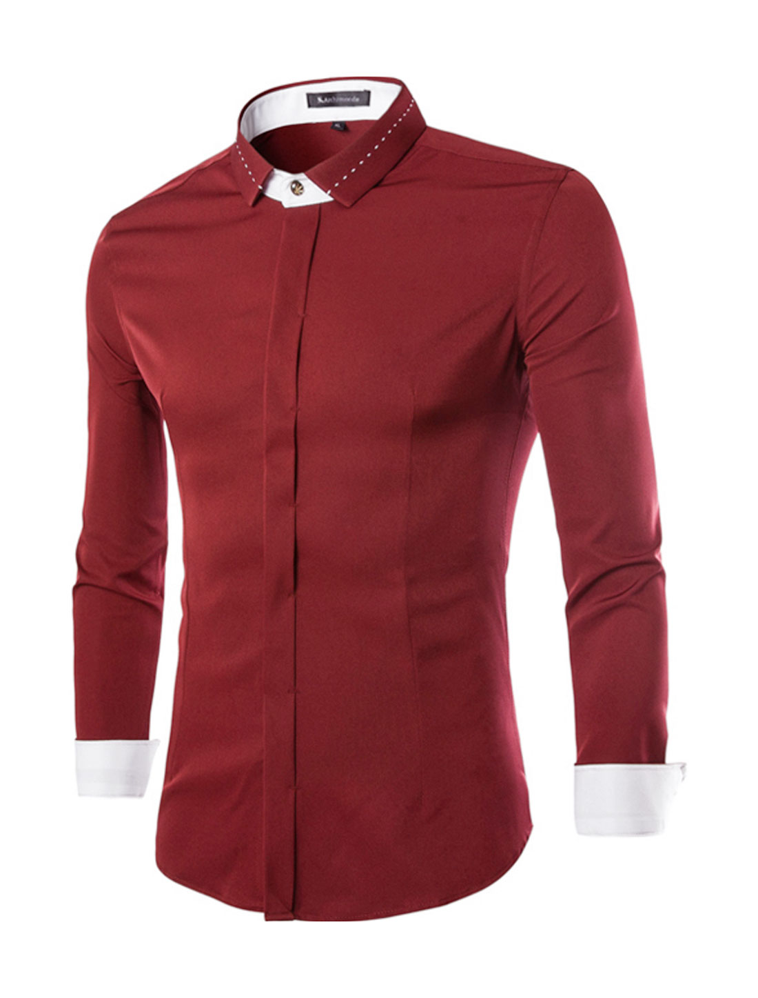 Men Long Sleeves Point Collar Hidden Placket Casual Shirt Red S