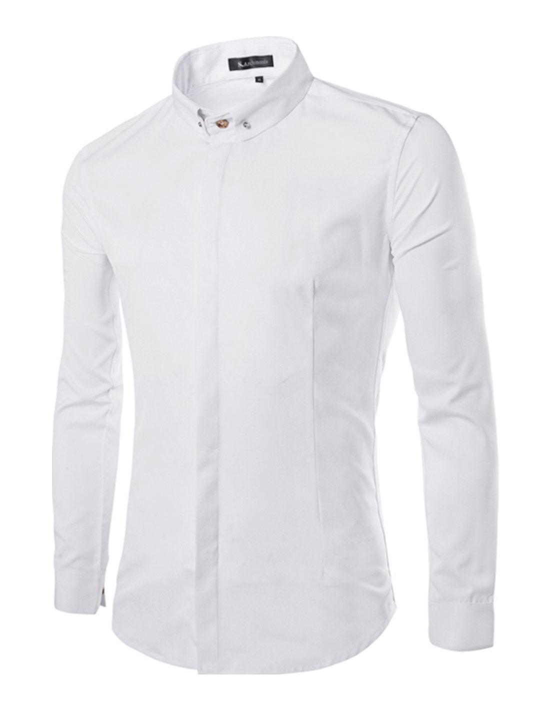 Men Point Collar Long Sleeves Plain Front Shirt White S