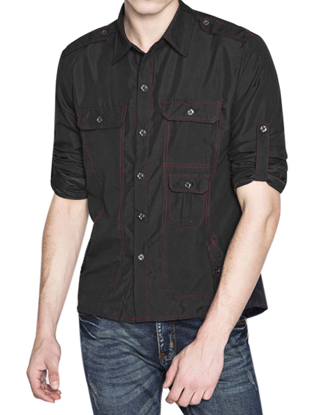 Men Point Collar Rolled Up Sleeves Five Pockets Casual Shirt Black M