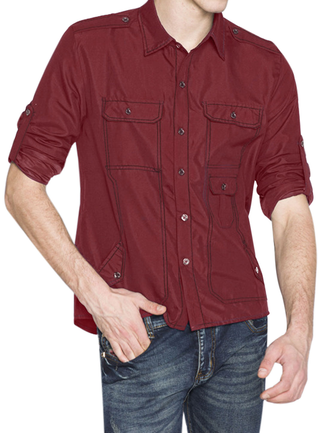 Men Single Breasted Rolled Up Sleeves Five Pockets Casual Shirt Red M