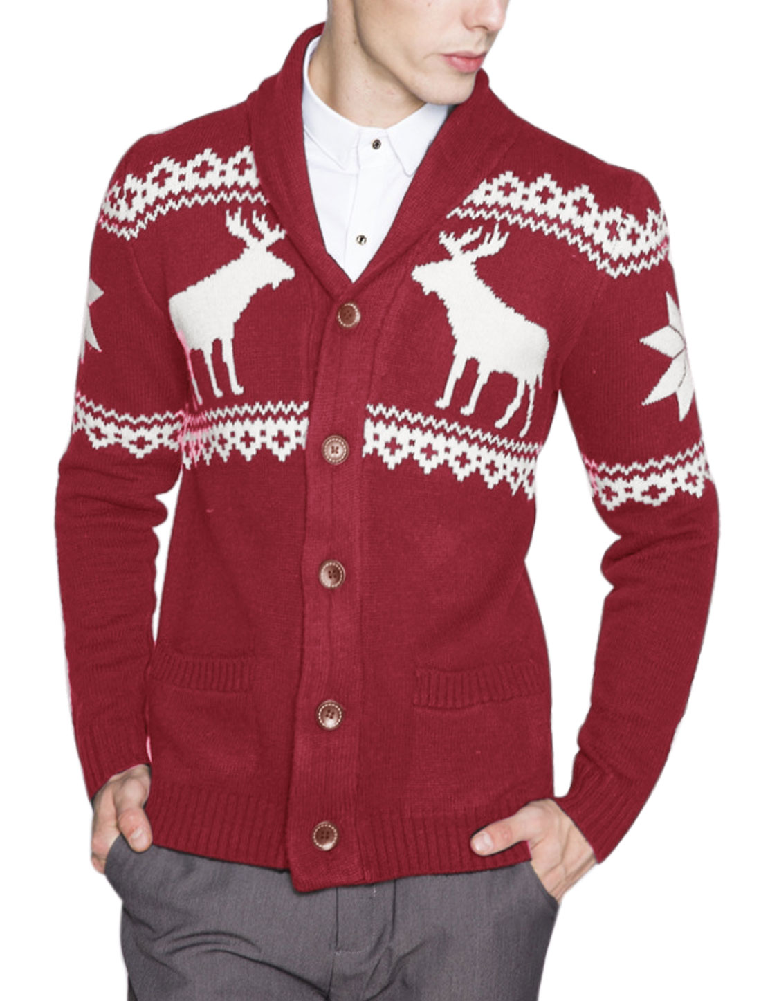 Men Deer Snowflake Geometric Pattern Sweater Cardigan Red S
