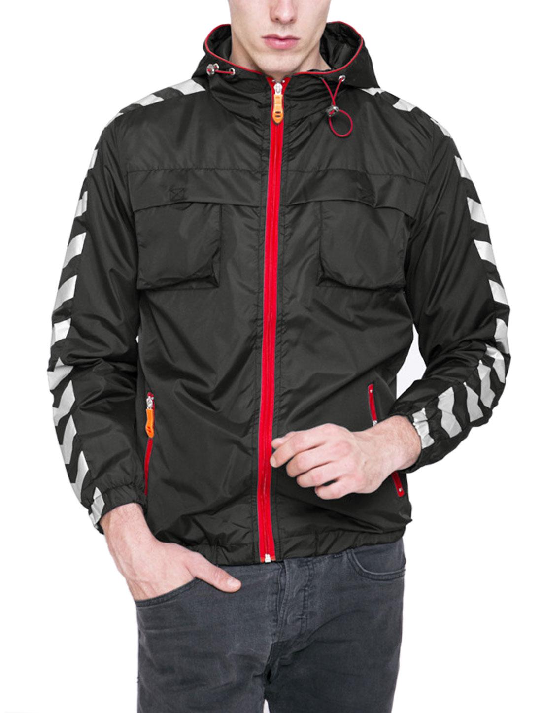 Men Geometric Pattern Two Flap Pockets Zippered Windbreaker Black S