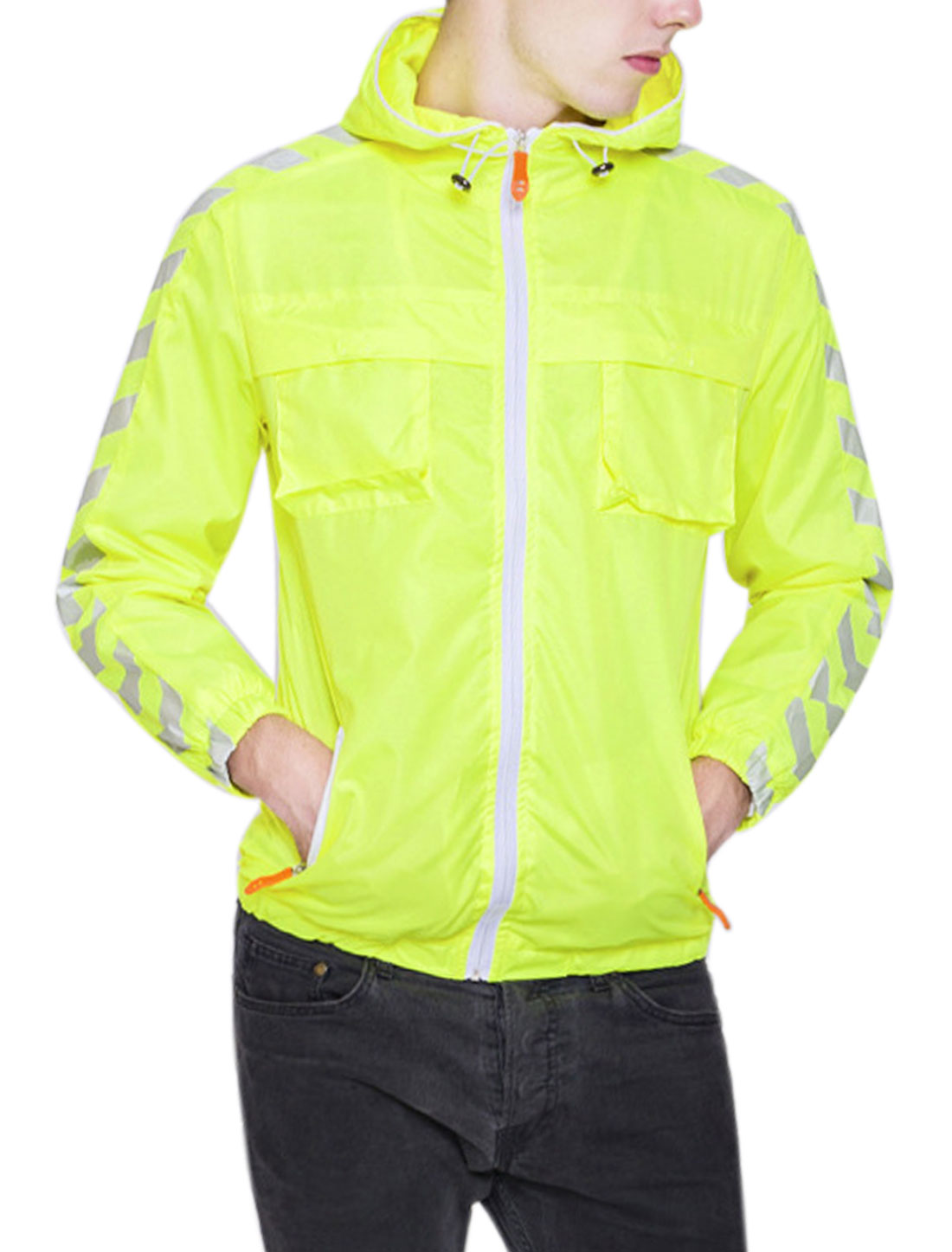 Men Zip Closure Geometric Print Drawstring Hood Jacket Yellow S