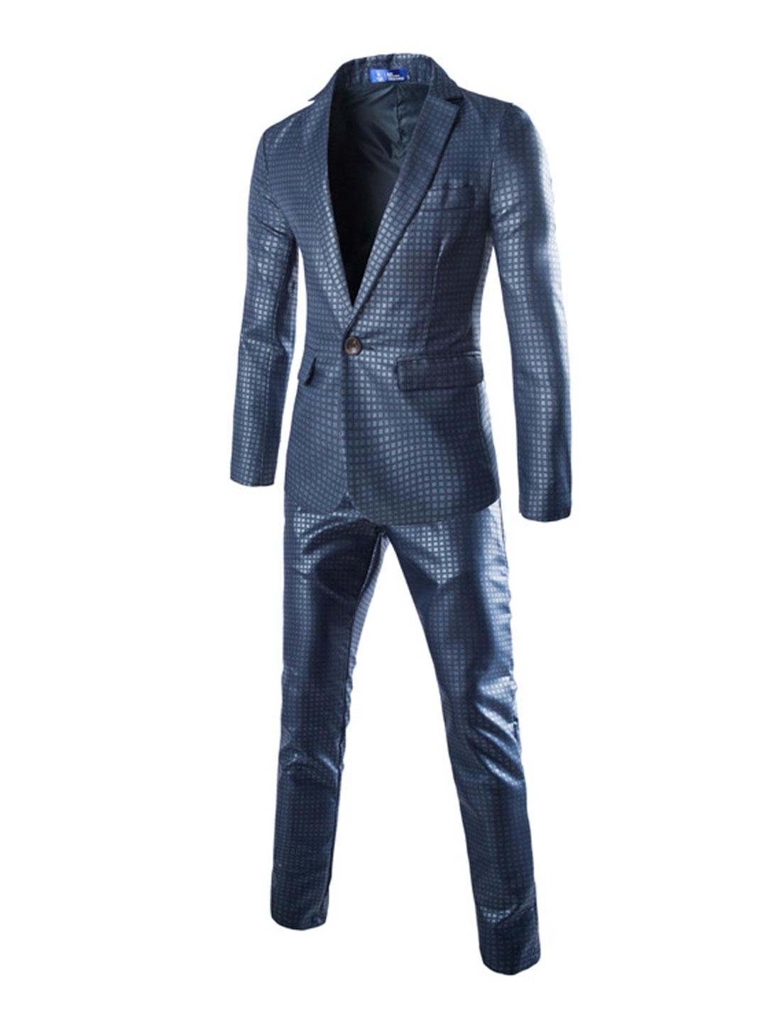 Men Notched Lapel Plaids Print One Button Closed Blazer w Pants Sets Navy Blue S
