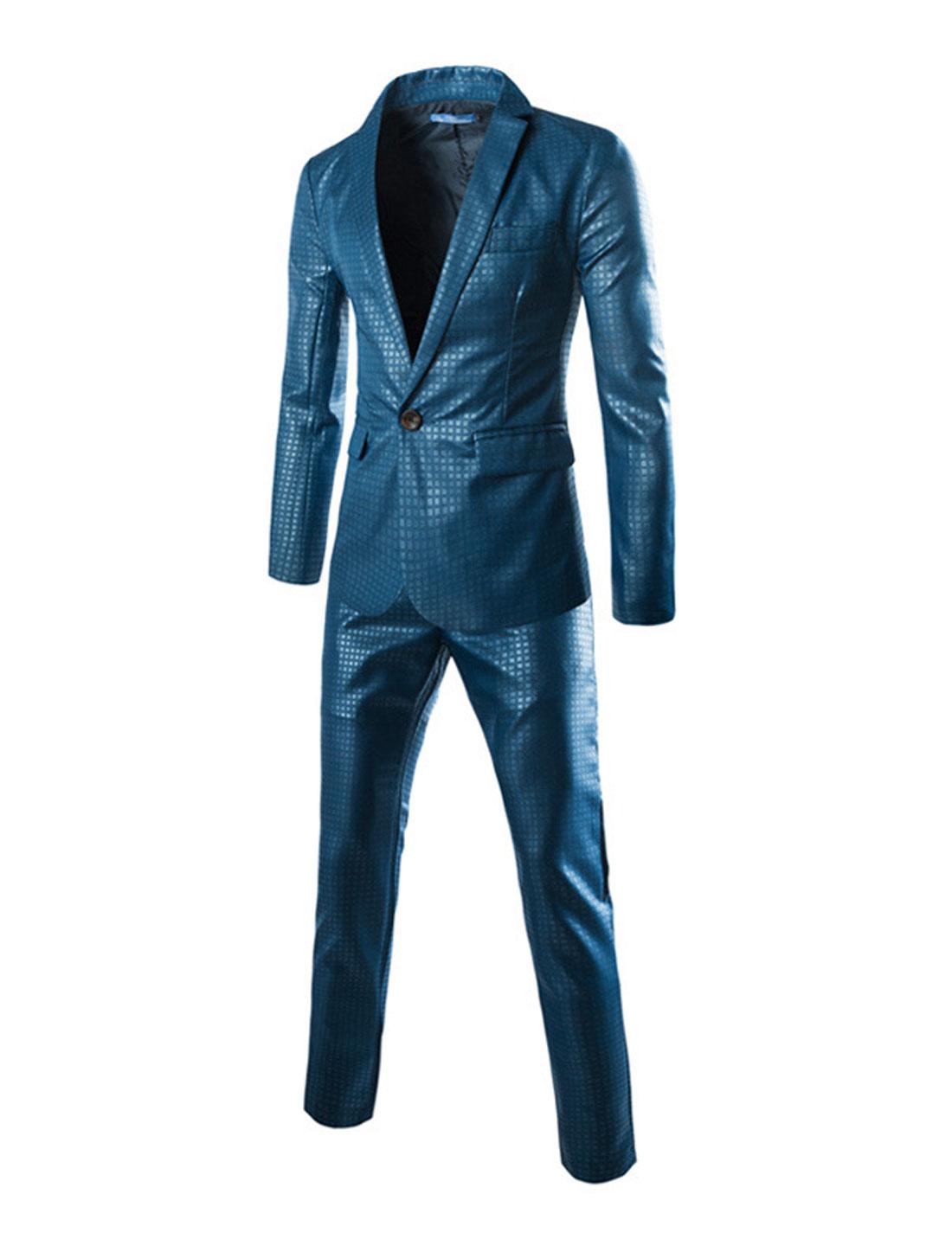 Men Plaids Pattern Padded Shoulders Blazer w Slim Fit Pants Sets Blue S