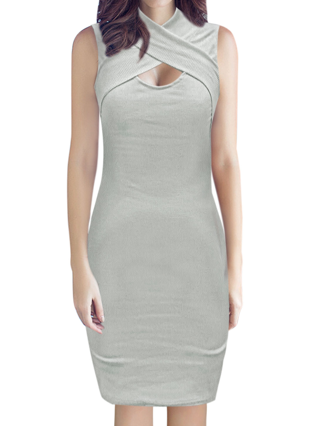 Women High Neck Sleeveless Cut Out Front Ribbed Bodycon Dress Gray L