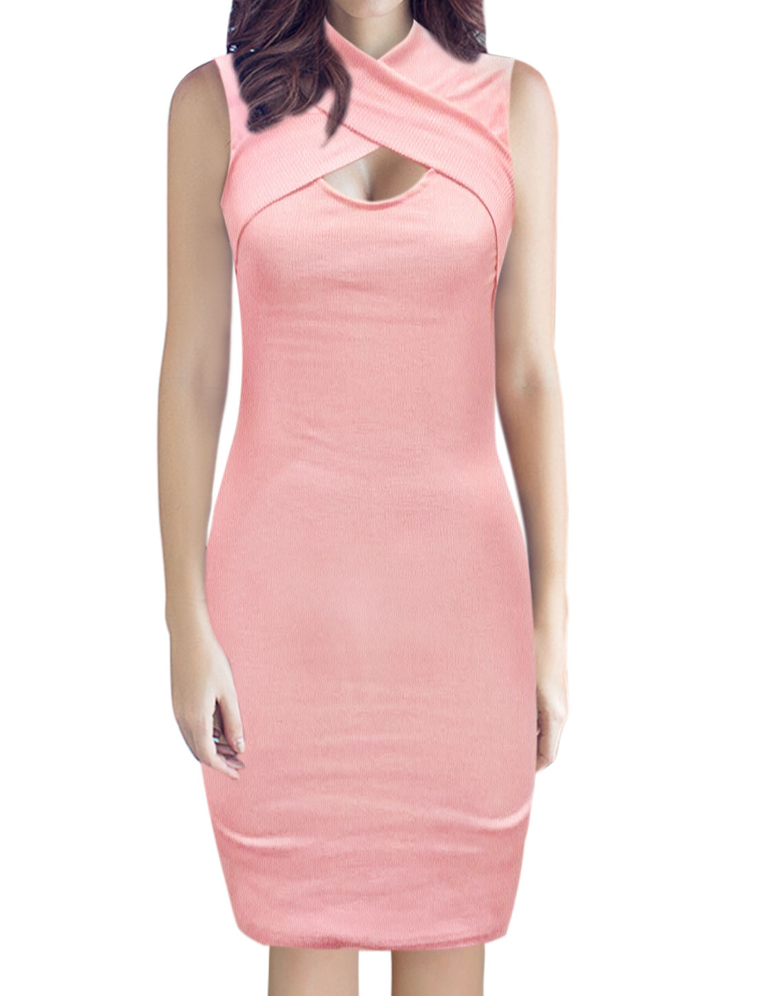 Ladies Sleeveless High Neck Crossover Front Casual Bodycon Dress Pink L
