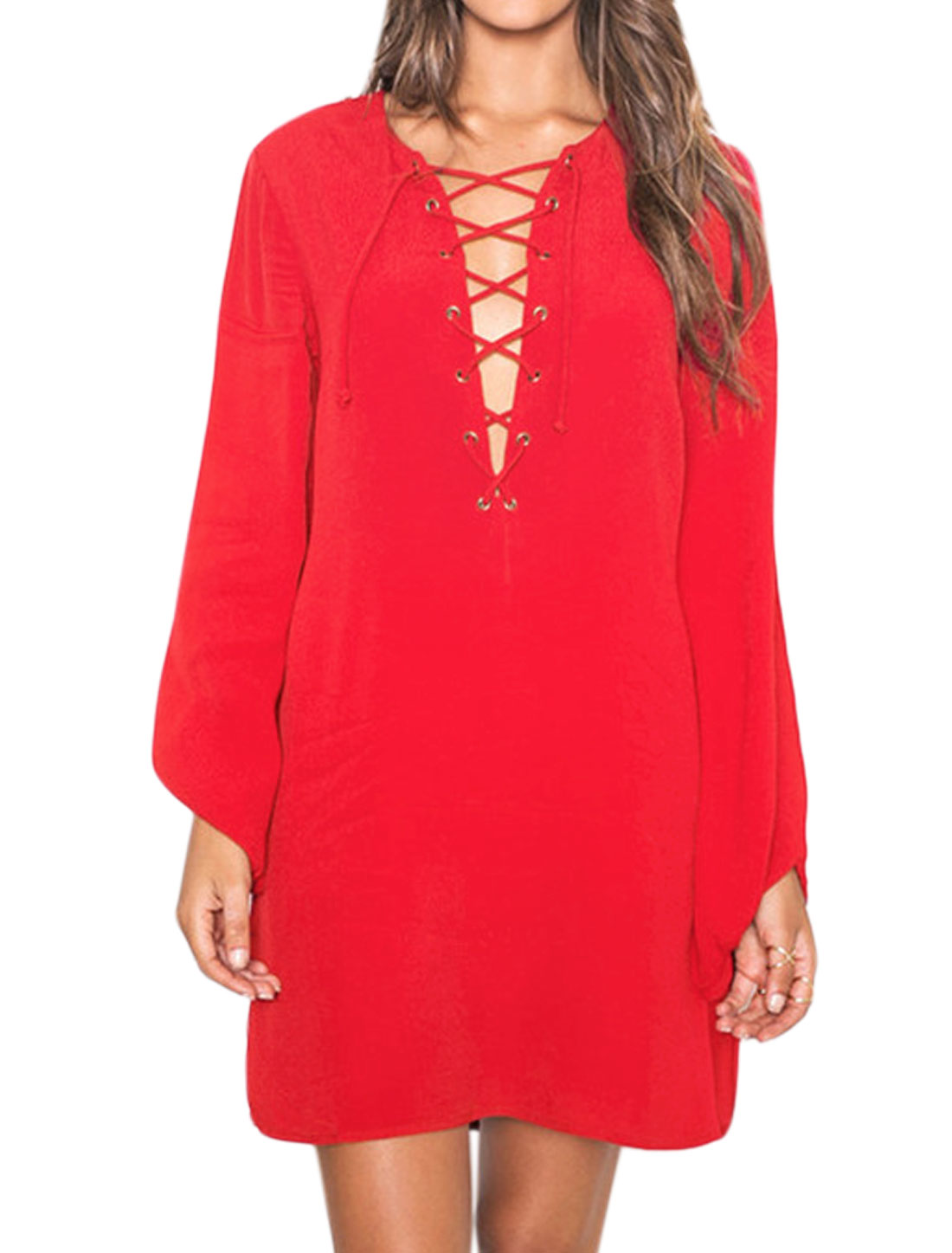 Women Split Neck Long Sleeves Lace Up Front Loose Fit Tunic Dress Red XS