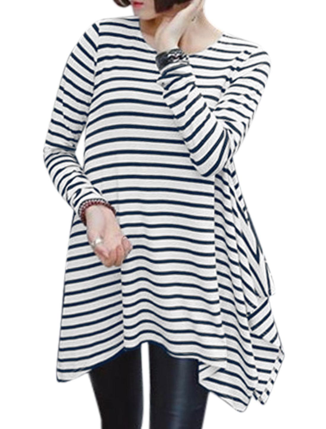 Lady Round Neck Long Sleeves Stripes Asymmetric Hem Tunic Top Blue M