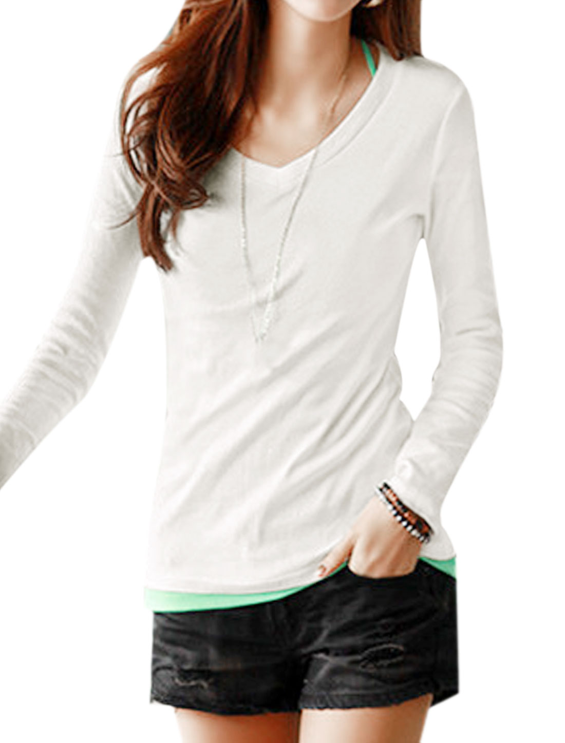 Women V Neck Long Sleeves Casual Tee Shirt White S