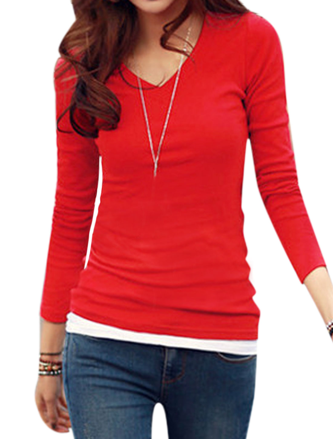 Ladies V Neck Long Sleeves Slim Fit Leisure T-Shirt Red S