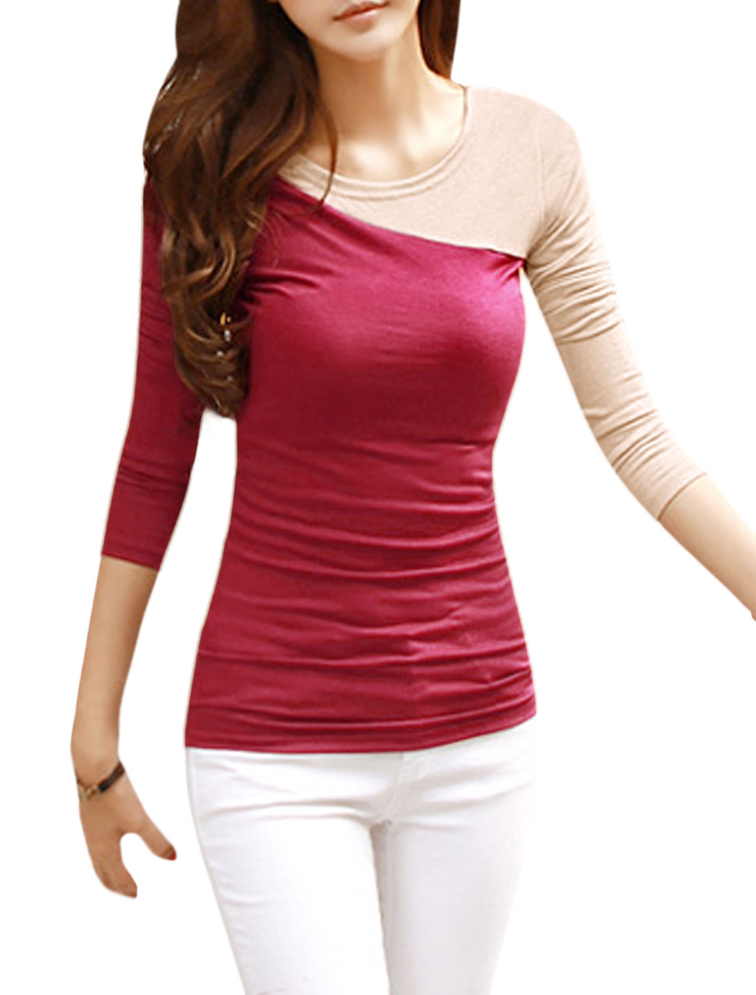 Ladies Long Sleeves Color Block Slim Fit Tee Shirt Red XS