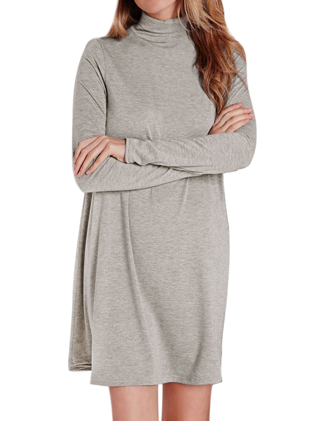 Women Turtle Neck Long Sleeves Loose Fit Tunic Dress Gray S