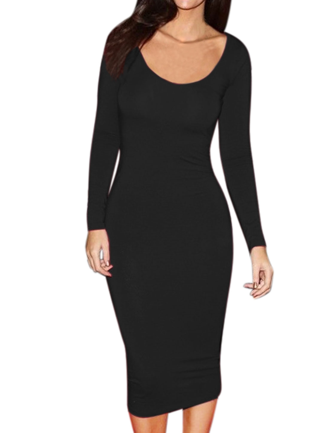 Women Scoop Neck Long Sleeves Stretchy Mid-Calf Bodycon Dress Black L