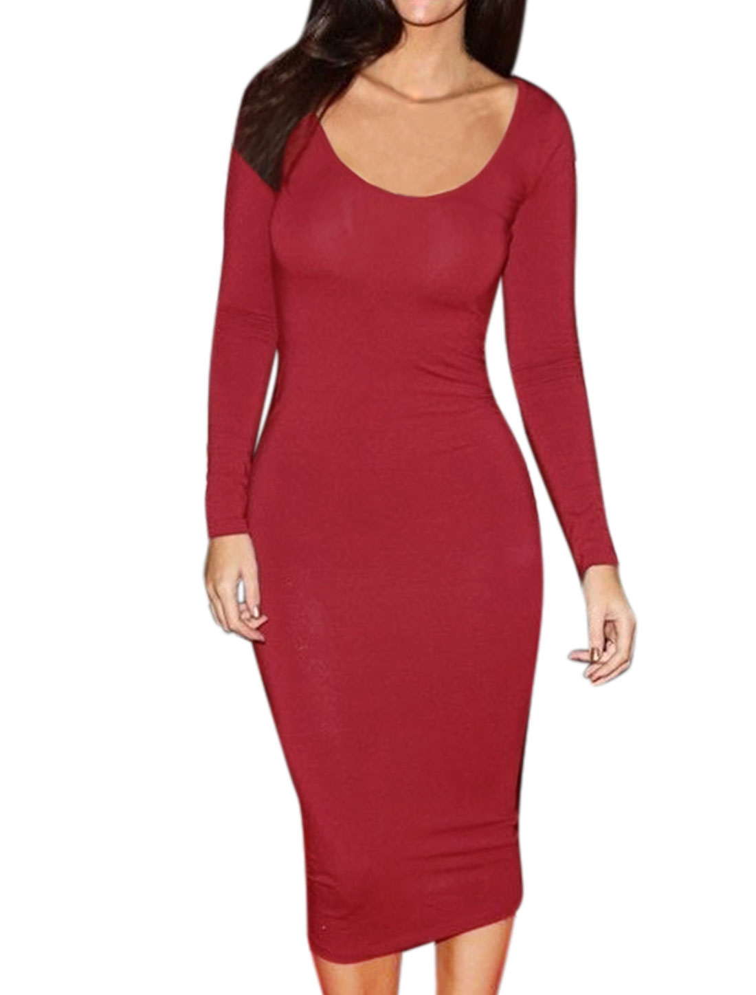 Ladies Scoop Neck Long Sleeves Stretchy Unlined Midi Dress Red L