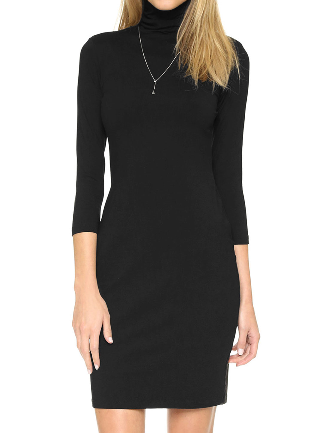 Lady Turtle Neck 3/4 Sleeves Casual Wiggle Dress Black M