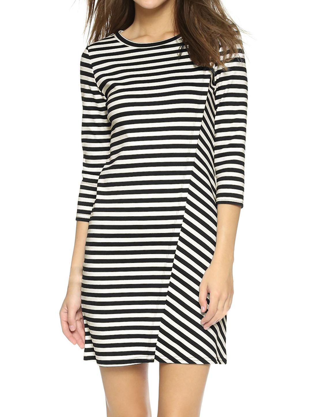 Women Round Neck 3/4 Sleeves Stripes Prints Casual Sheath Dress White M