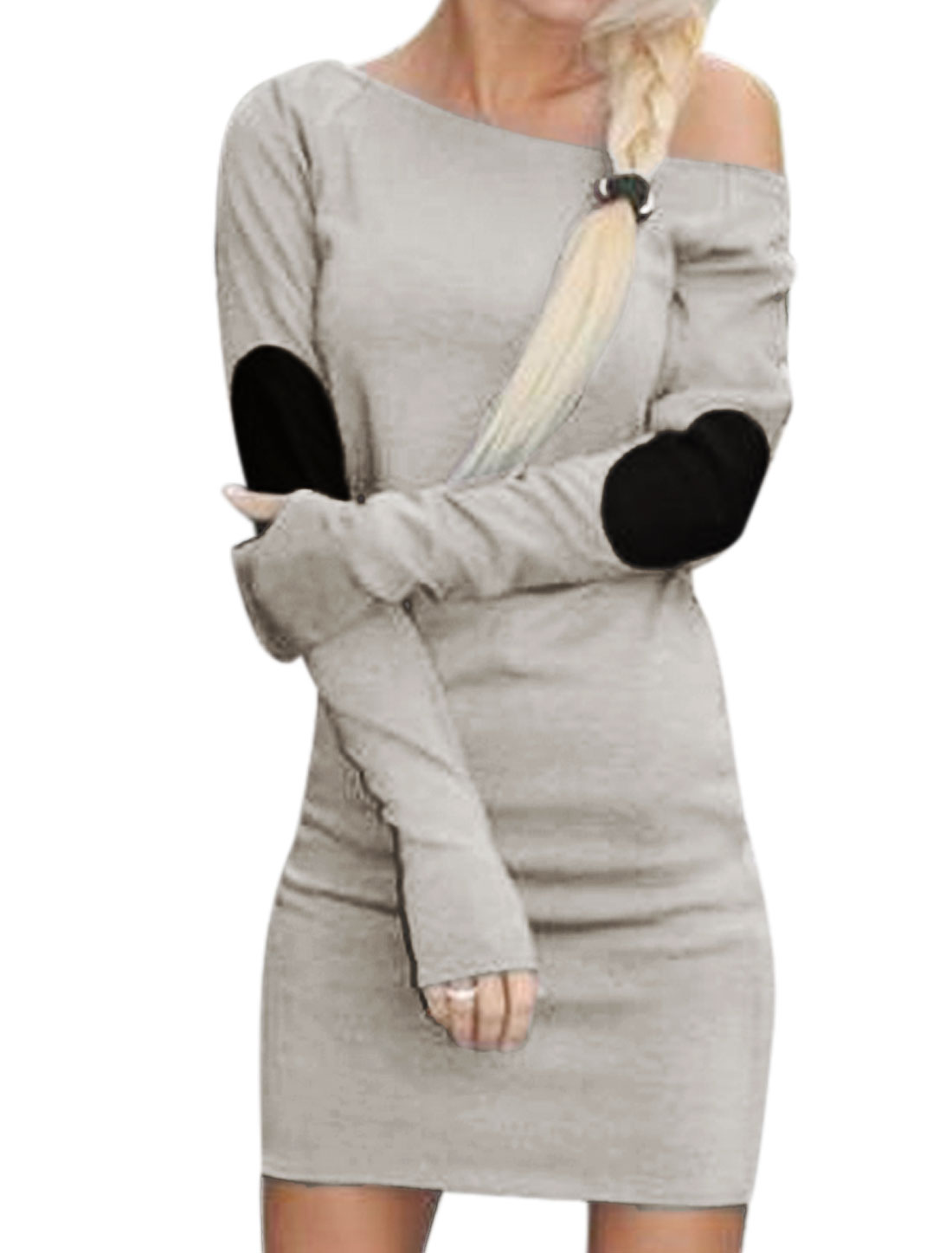 Lady Boat Neck Long Sleeves Elbow Patch Sheath Dress Gray S