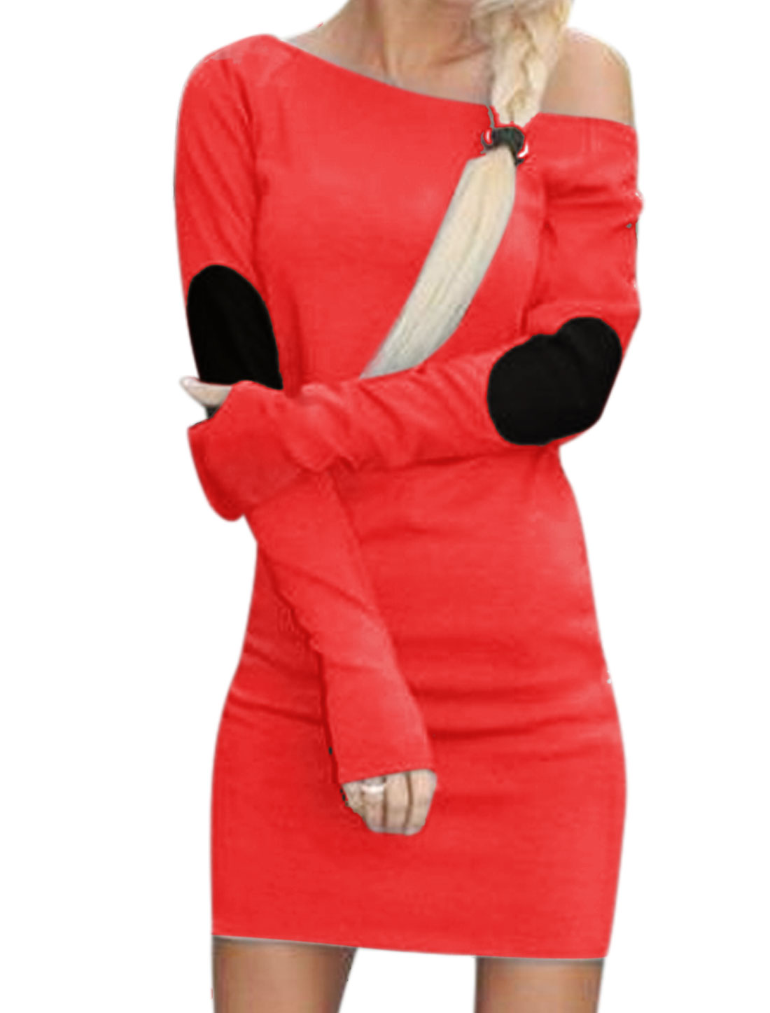 Women Elbow Patch Color Block Unlined Casual Dress Red S