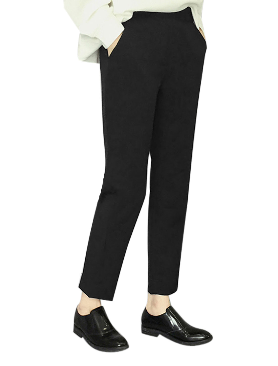 Women Elastic Waist Back Split Cuffs Tapered Cropped Pants Black M
