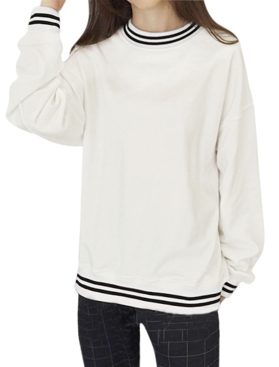Women Crew Neck Long Sleeves Varsity-Striped Loose Fit Sweatshirt White XS