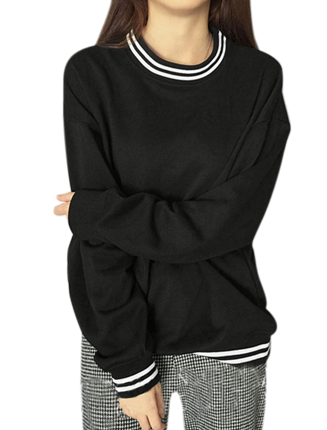 Lady Crew Neck Long Sleeves Varsity-Striped Casual T-Shirts Black XS