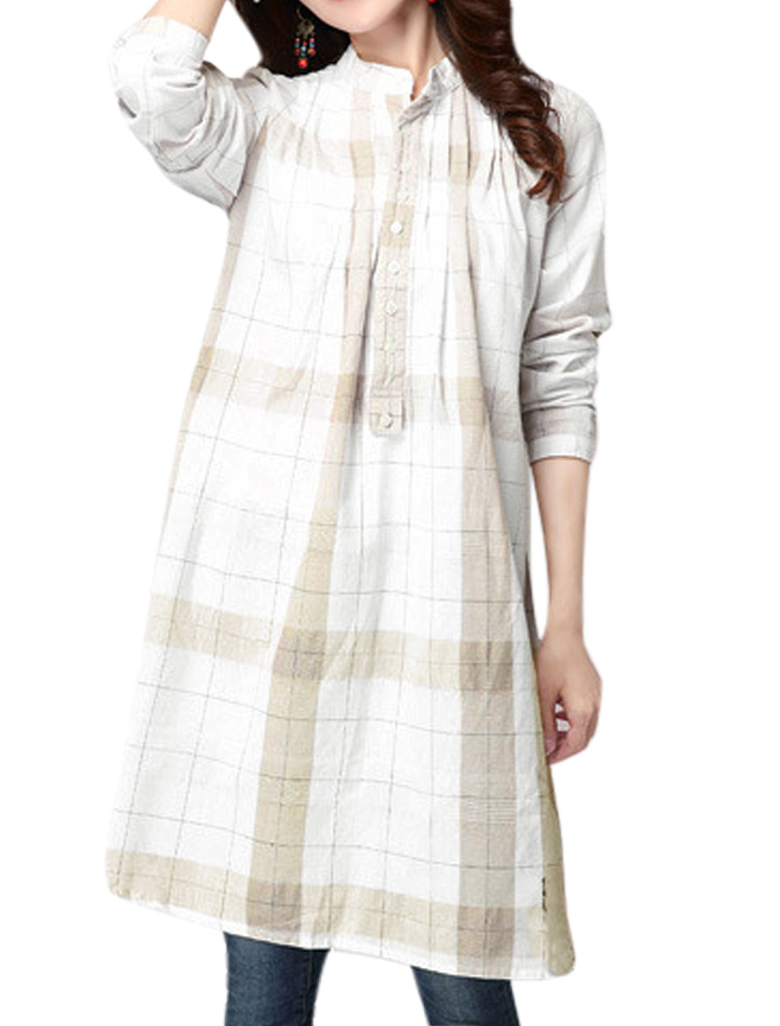 Women Long Sleeves Checks Prints Half Button Closed Tunic Shirt White S