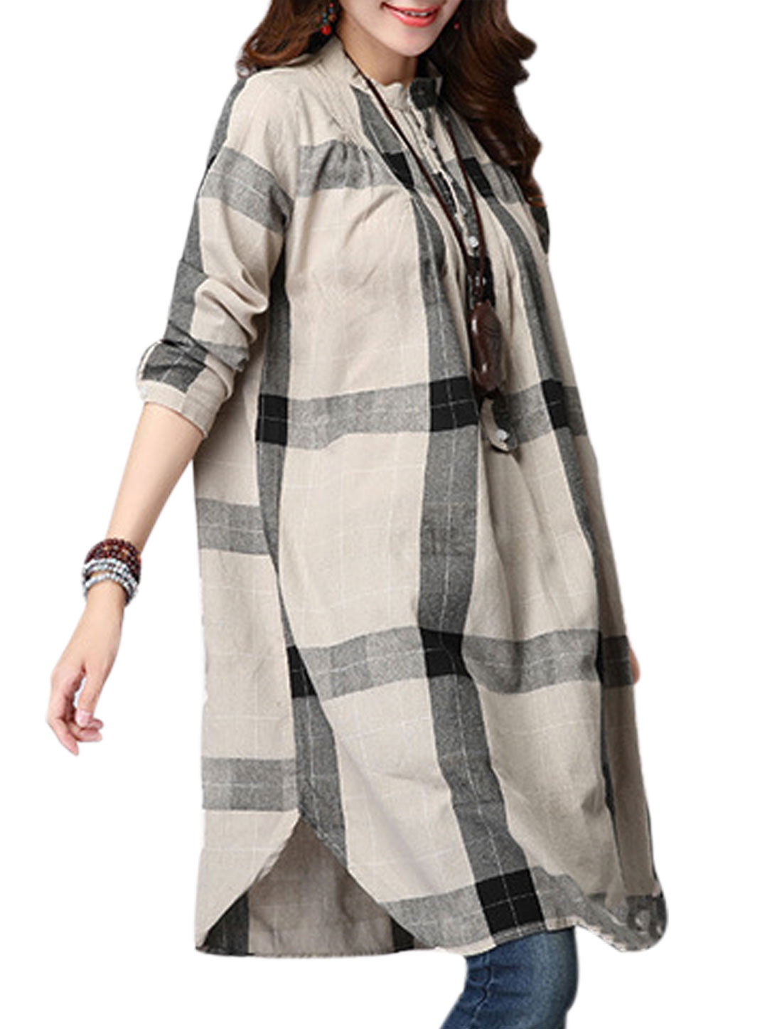 Lady Stand Collar Plaids Pattern Button Closure Tunic Top Beige S
