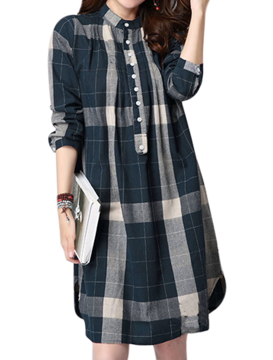 Ladies Stand Collar Checks Prints Button Front Tunic Blouse Blue S