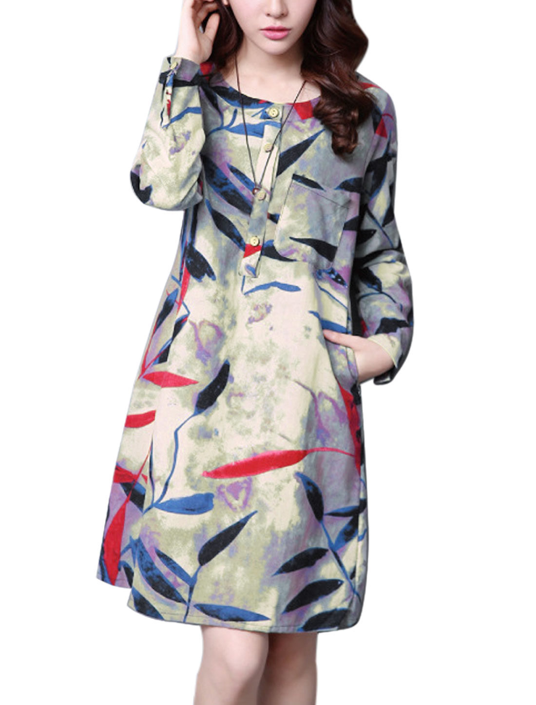 Ladies Long Sleeves Leaves Prints Half Button Closure Tunic Dress Purple M