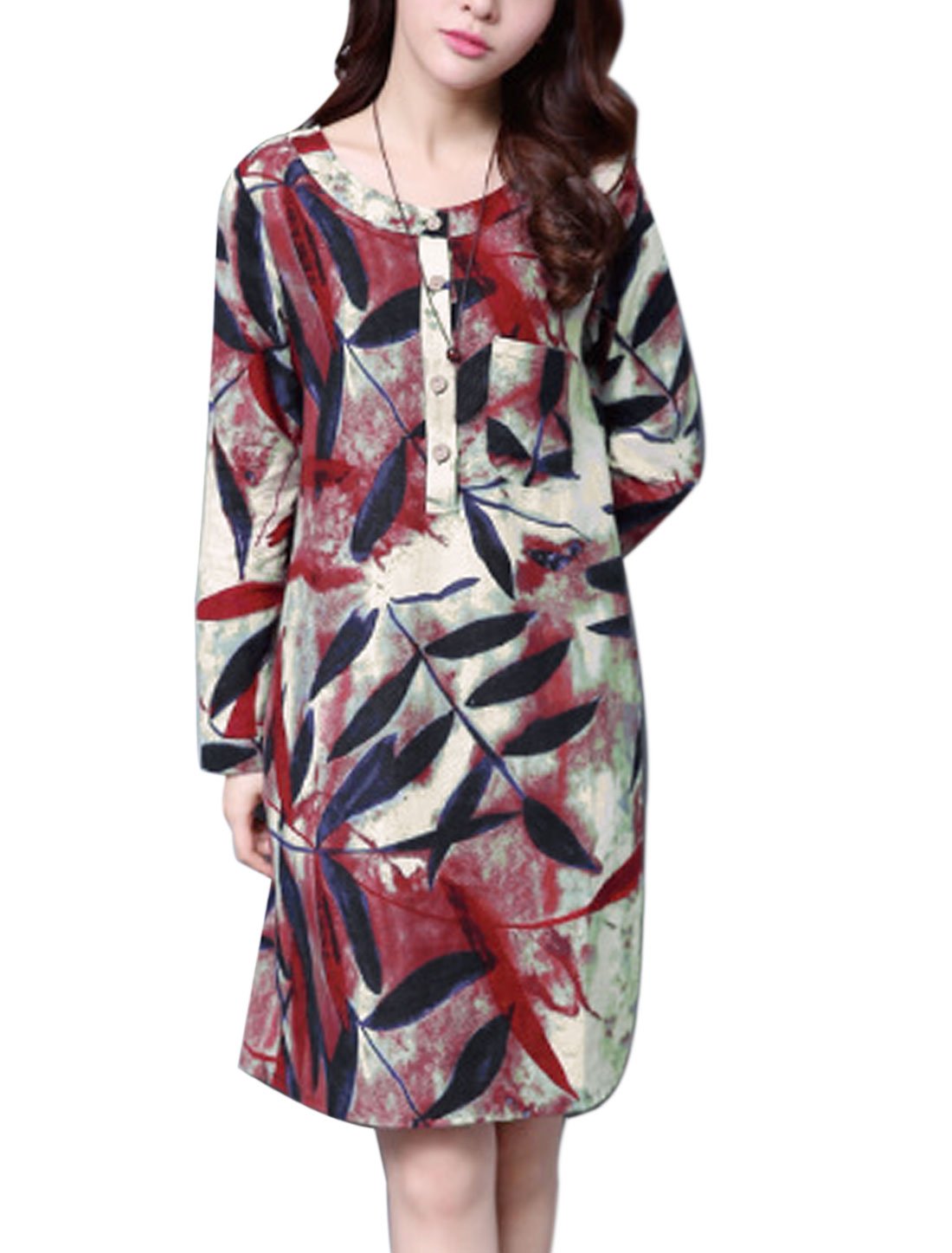 Women Leaves Pattern Long Sleeves Loose Fit Casual Shift Dress Red M