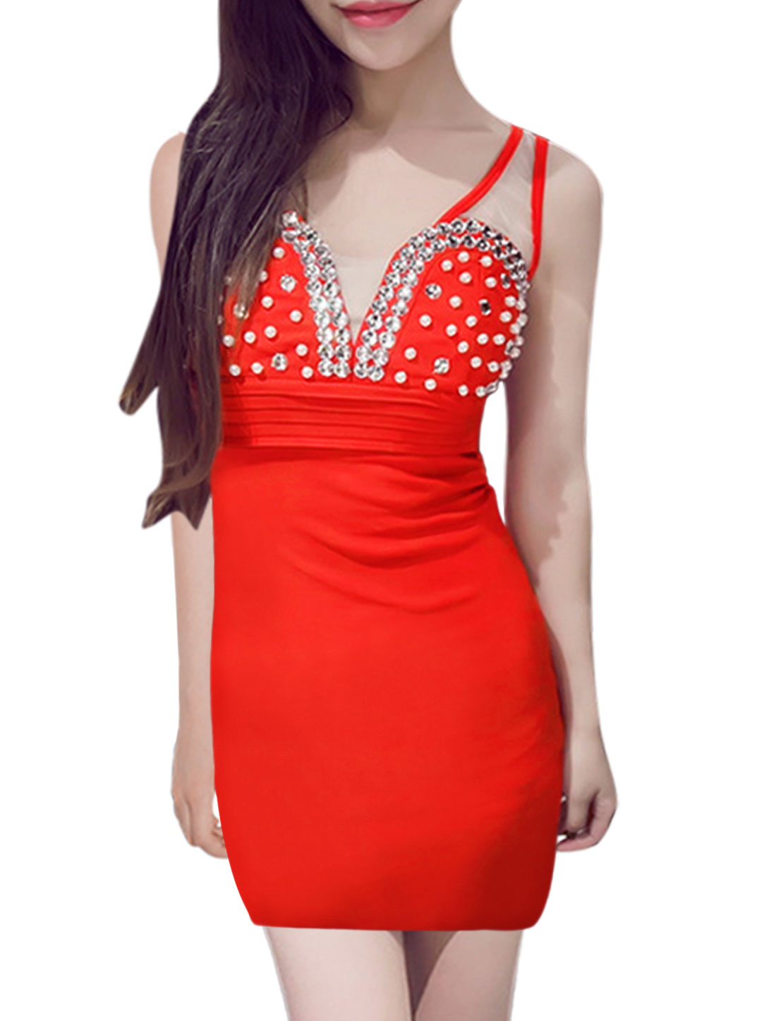 Lady Padded Bust Beads Rhinestones Embellished Skinny Dress Red XS