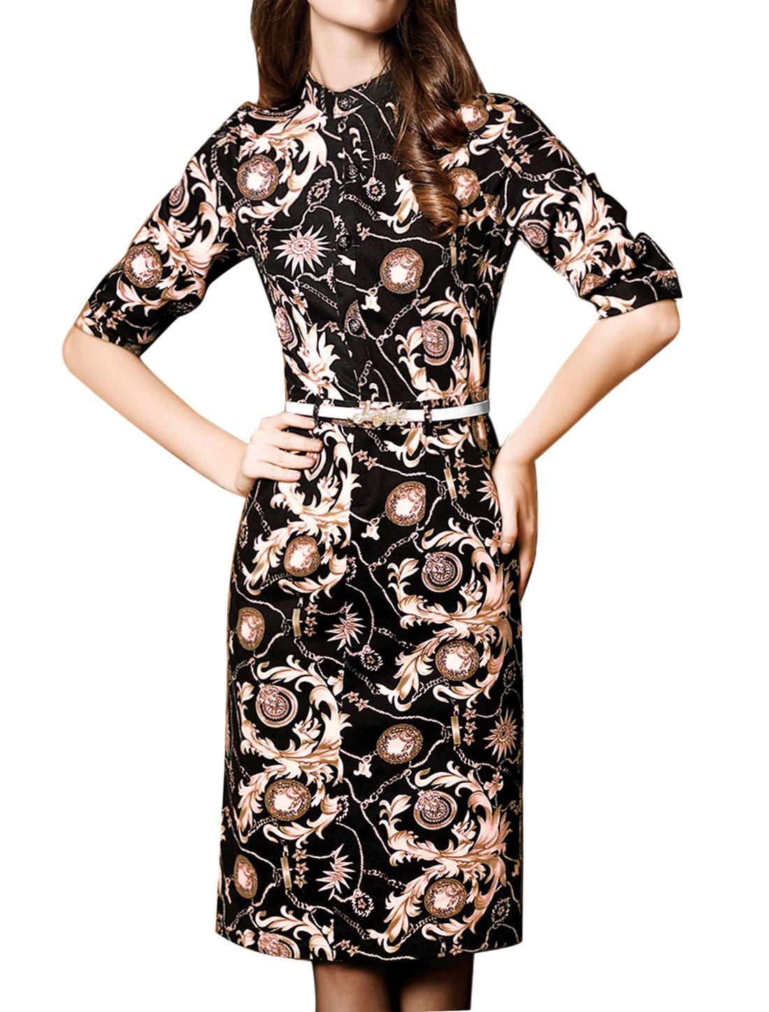 Women Long Sleeves Stand Callar Novelty Prints Wiggle Dress w Belt Black S