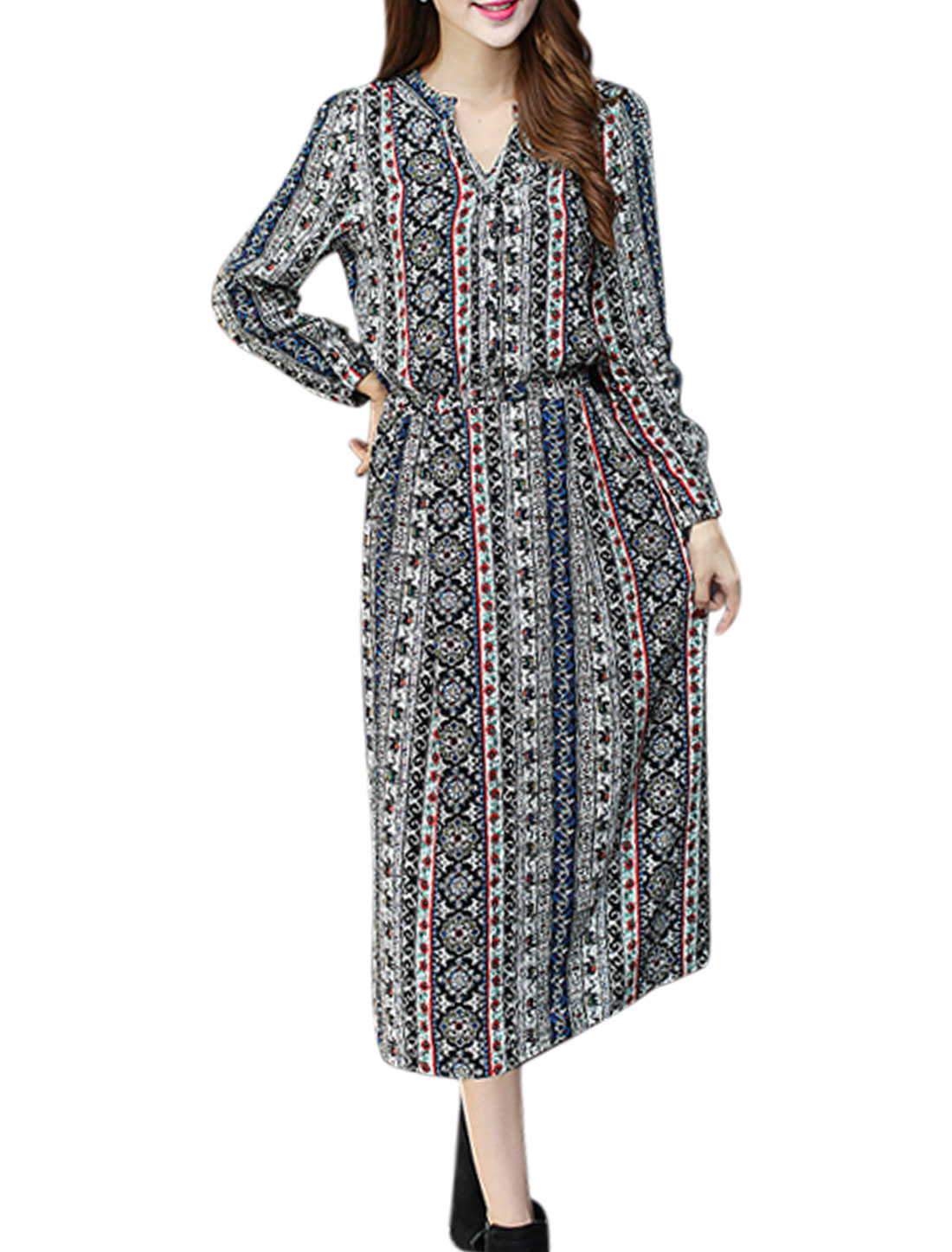 Ladies Long Sleeves Floral Elephants Pattern A Line Dress White M