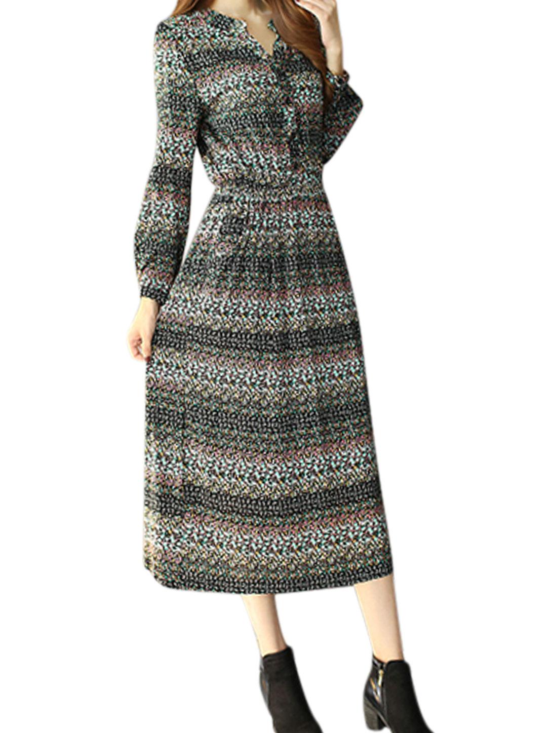 Women Floral Prints Elastic Waist Button Closed A Line Dress Black M