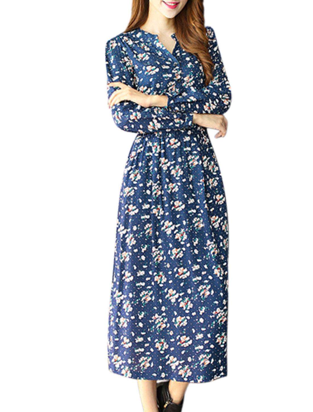 Women Split Neck Floral Print Slant Pockets Casual Long Dress Blue M
