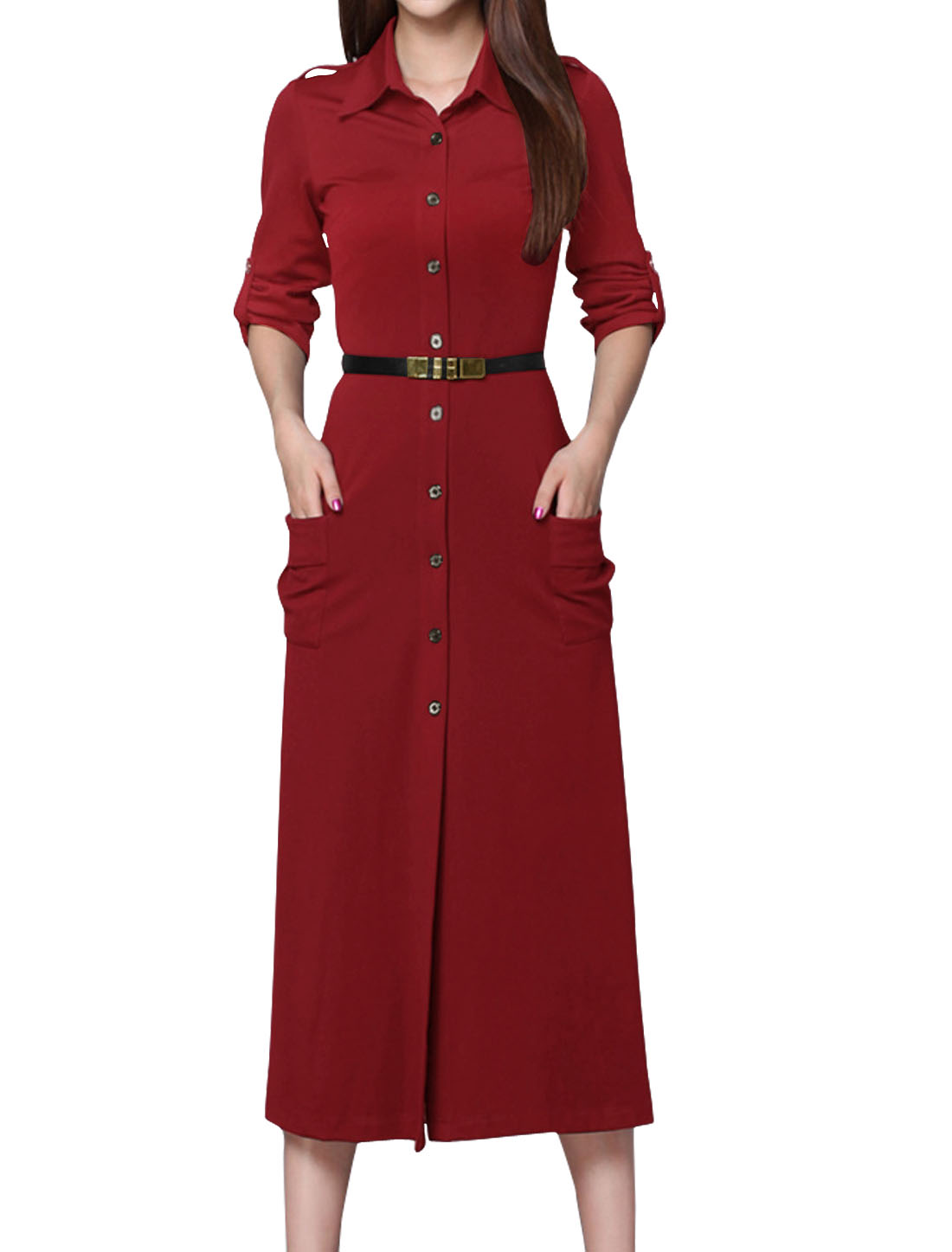 Women Rolled Up Sleeves Single Breasted Two Pockets Shirt Dress w Belt Red M