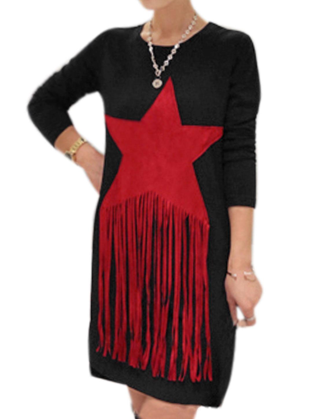 Women Round Neck Star Applique Tassels Design Tunic Dress Black M
