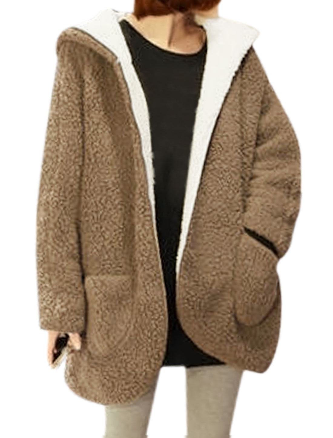 Lady Long Sleeves Buttonless Soft Lining Plush Hooded Coat Brown XS