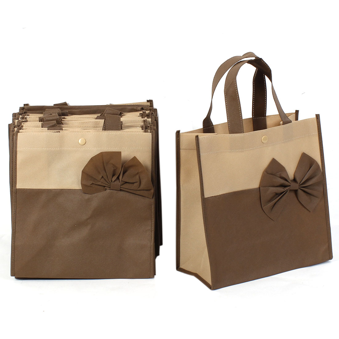 Shopping Bowknot Decor Non-Woven Fabric Reusable Bag Coffee Color 20 Pcs
