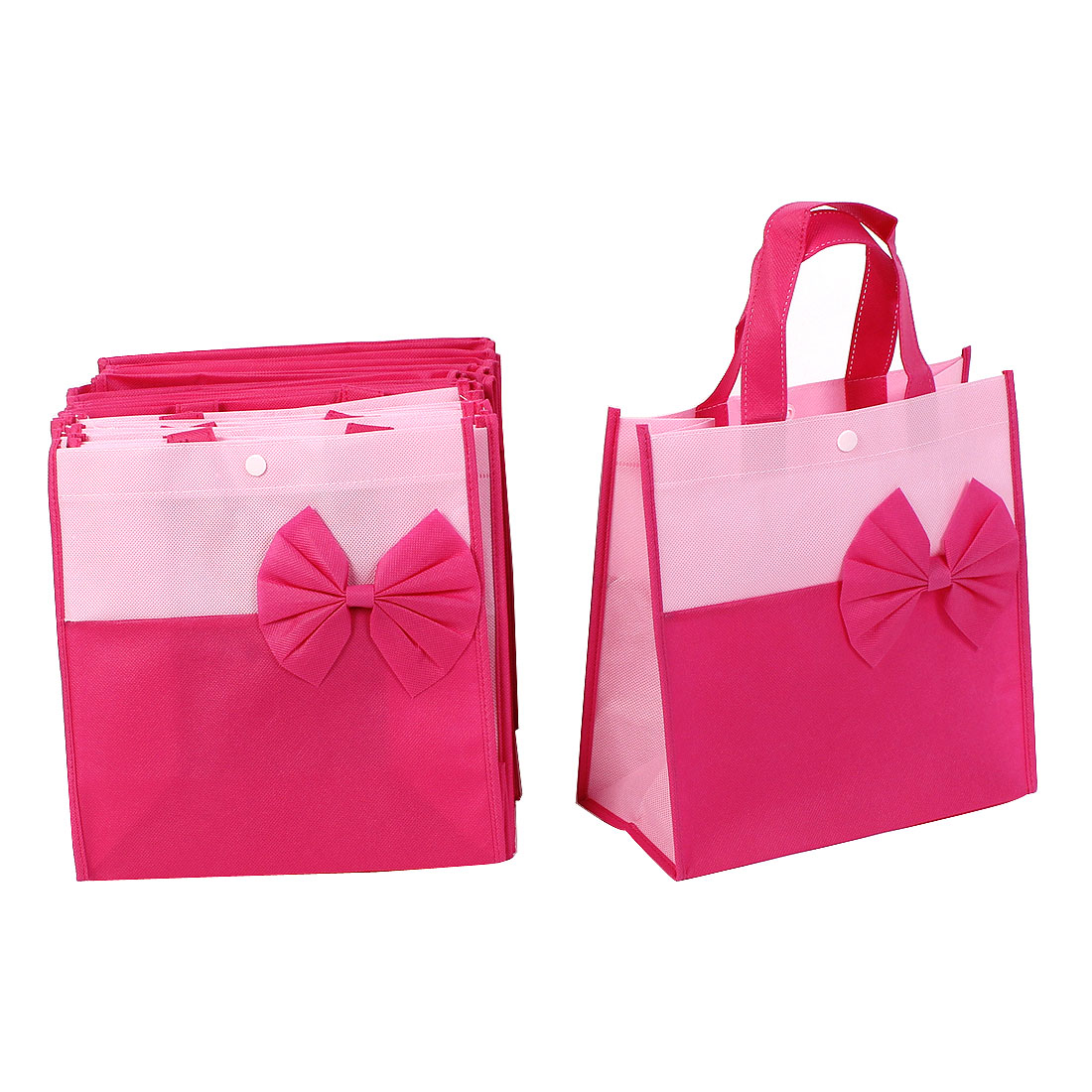 Shopping Trading Bowknot Decor Nylon Non-Woven Fabric Reusable Bag Pink 20 Pcs
