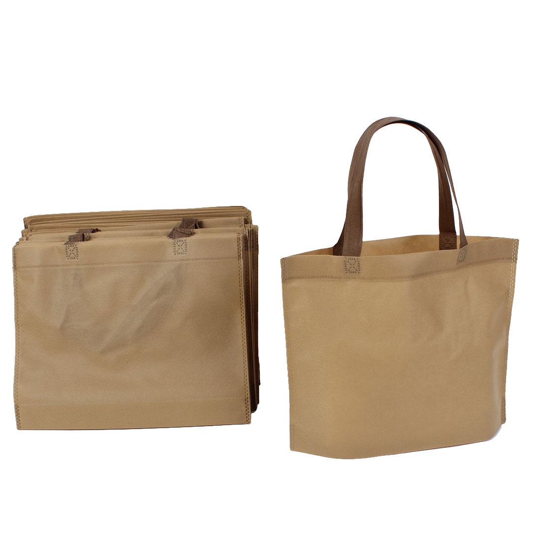 Non Woven Foldable Storage Shopping Bag 35cm x 28cm Light Brown 20 Pcs