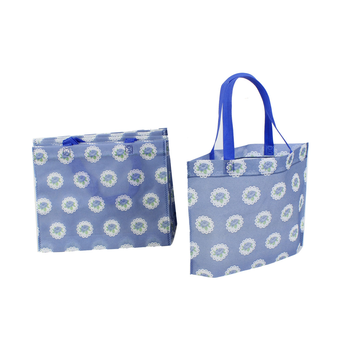 Non Woven Flower Printed Reusable Shopping Bag 35cm x 28cm Blue 20 Pcs