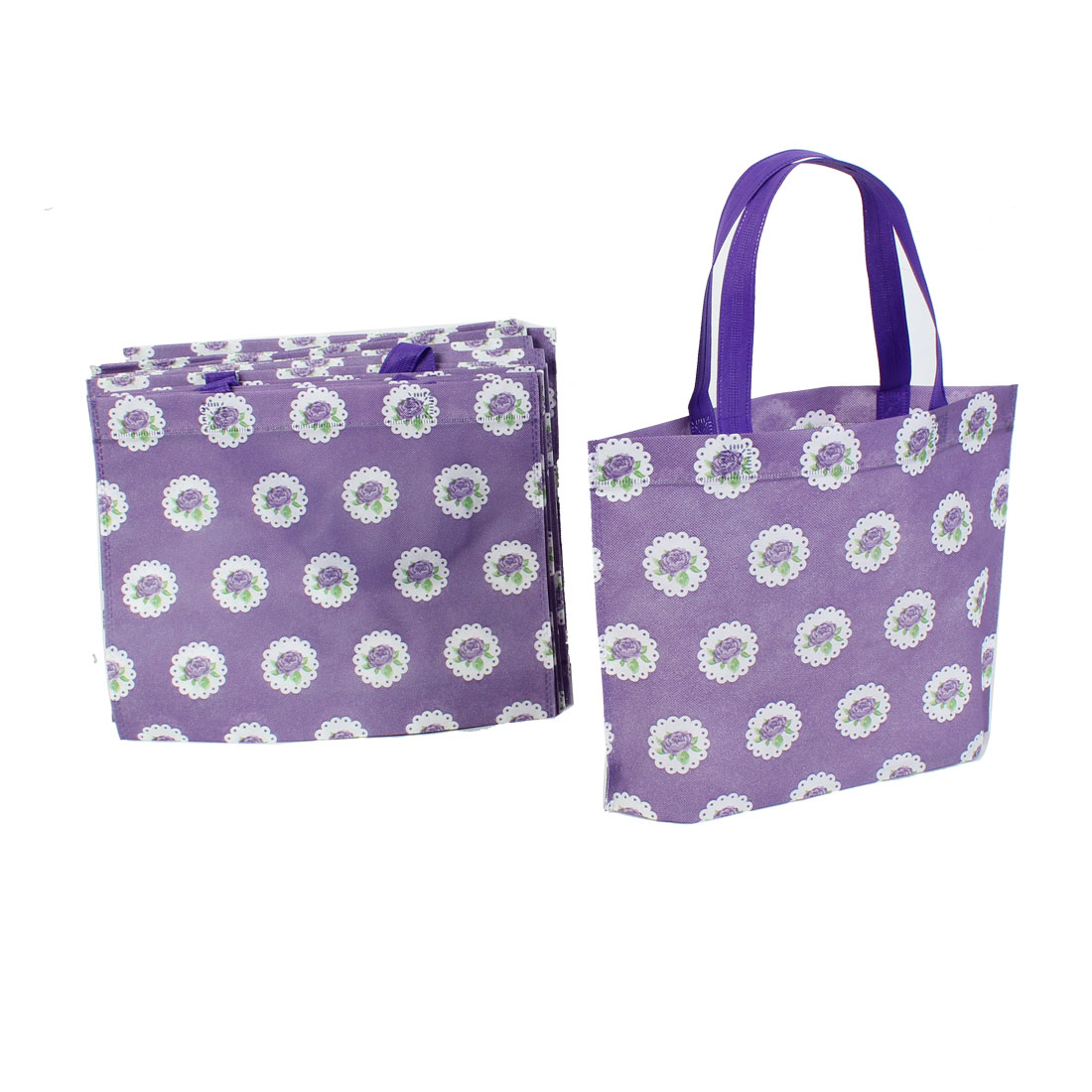 Non Woven Flower Printed Foldable Shopping Bag 35cm x 28cm Purple 20 Pcs