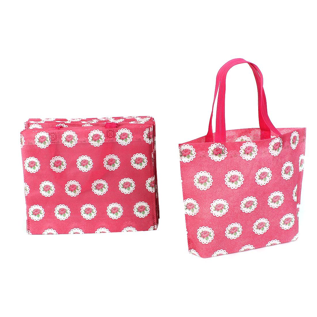 Non Woven Flower Pattern Reusable Shopping Bag 35cm x 28cm Red 20 Pcs